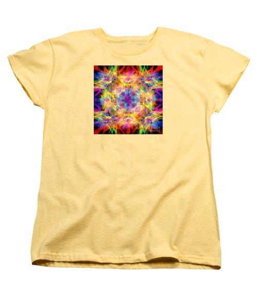 Women's T-Shirt (Standard Cut) featuring the photograph Kaleidos Quad Spiral Les Fleurs by Jack Torcello