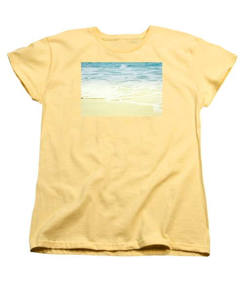 Women's T-Shirt (Standard Cut) featuring the photograph Kapalua Beach Dream Colours Sparkling Golden Sand Seafoam Maui by Sharon Mau