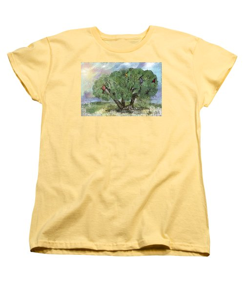 Women's T-Shirt (Standard Cut) featuring the painting Kite Eating Tree by Annette Berglund