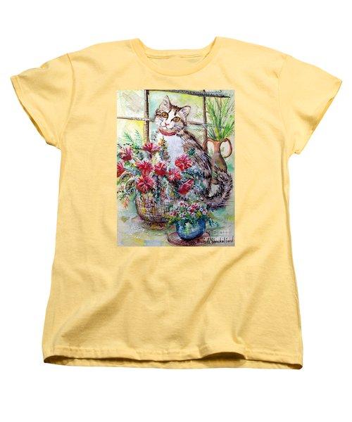 Kitty In The Window Women's T-Shirt (Standard Cut) by Linda Shackelford