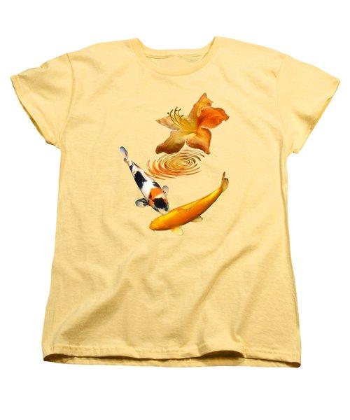 Koi With Azalea Ripples Vertical Women's T-Shirt (Standard Cut) by Gill Billington