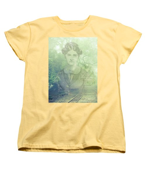 Women's T-Shirt (Standard Cut) featuring the mixed media Lady On The Tracks by Angela Hobbs