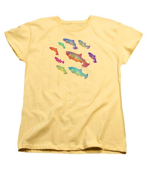 Leaping Salmon Design Women's T-Shirt (Standard Cut) by Teresa Ascone