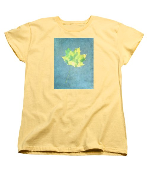 Leaves Through Maple Leaf On Texture 1 Women's T-Shirt (Standard Cut) by Gary Slawsky