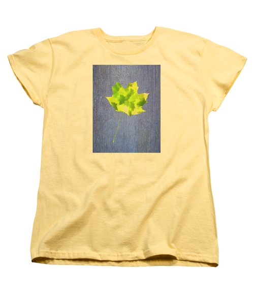 Leaves Through Maple Leaf On Texture 2 Women's T-Shirt (Standard Cut) by Gary Slawsky