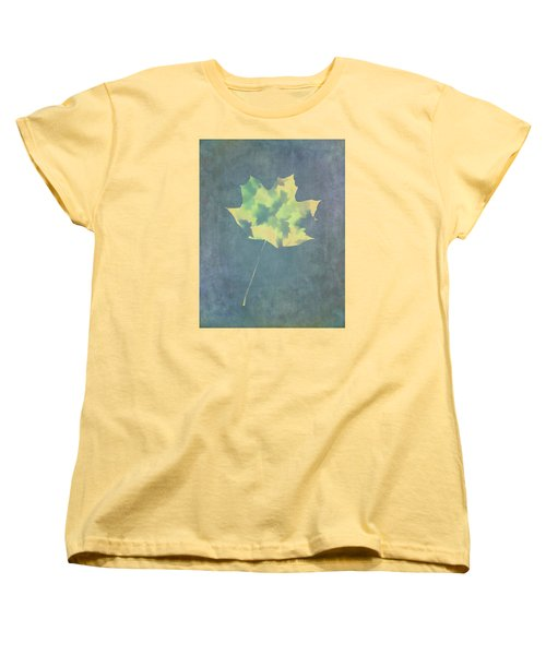 Leaves Through Maple Leaf On Texture 3 Women's T-Shirt (Standard Cut) by Gary Slawsky