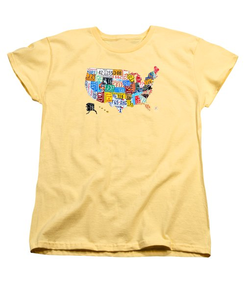 License Plate Art Map Of The United States On Yellow Board Women's T-Shirt (Standard Cut) by Design Turnpike