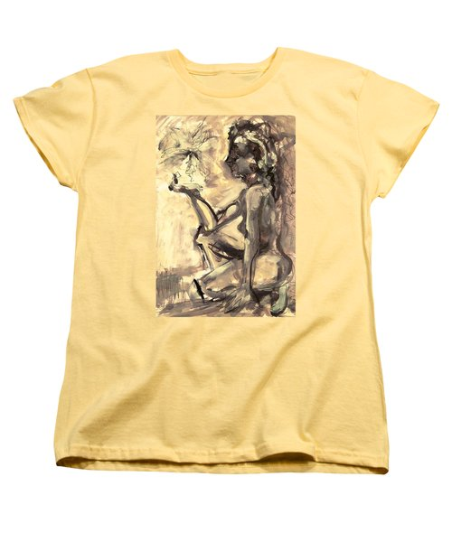 Women's T-Shirt (Standard Cut) featuring the painting Light And Shadow by Mary Schiros