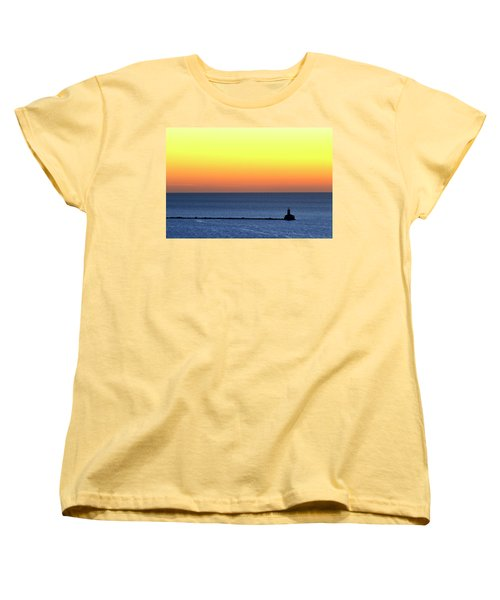 Women's T-Shirt (Standard Cut) featuring the photograph Lighthouse At Sunrise On Lake Michigan by Zawhaus Photography