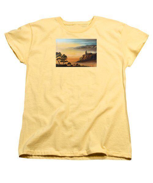 Lighthouse At Sunset Women's T-Shirt (Standard Cut) by Remegio Onia