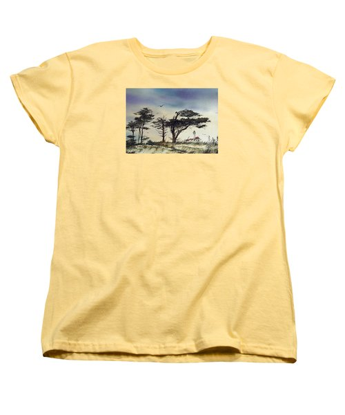 Women's T-Shirt (Standard Cut) featuring the painting Lighthouse Coast by James Williamson