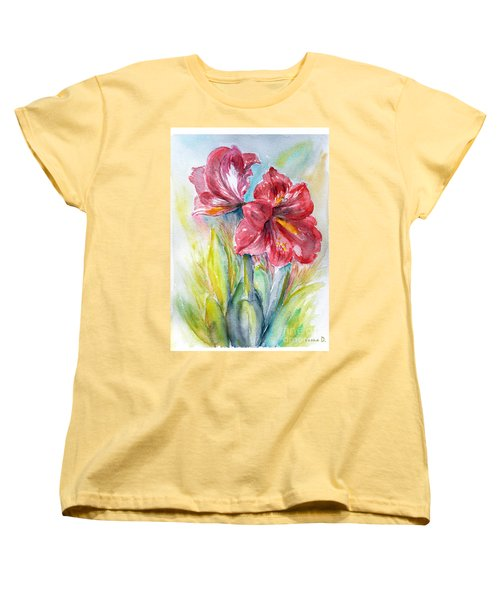 Women's T-Shirt (Standard Cut) featuring the painting Lily Red by Jasna Dragun