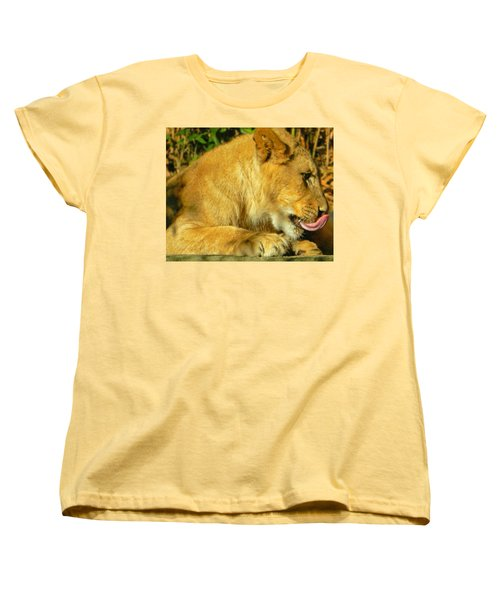 Lion Cub - What A Yummy Snack Women's T-Shirt (Standard Cut) by Emmy Marie Vickers