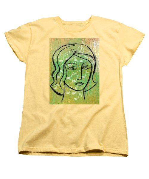 Women's T-Shirt (Standard Cut) featuring the painting Listening To Music by Leon Zernitsky