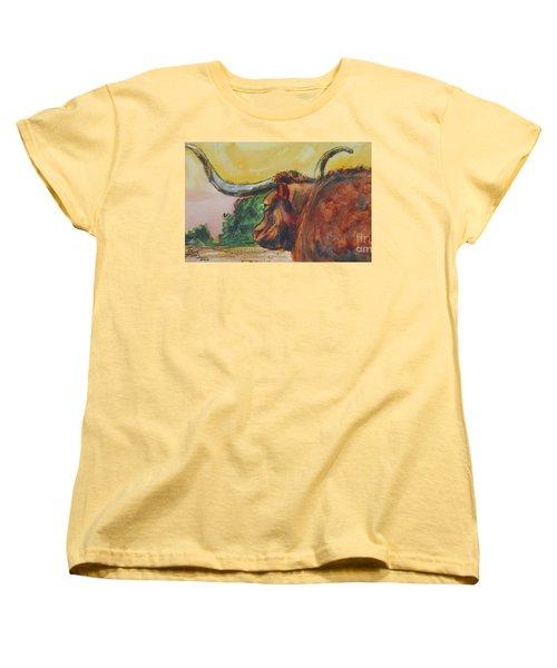 Lonesome Longhorn Women's T-Shirt (Standard Cut) by Ron Stephens