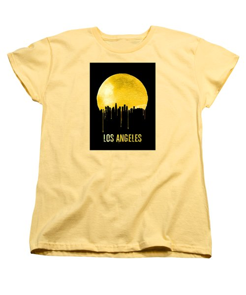 Los Angeles Skyline Yellow Women's T-Shirt (Standard Cut) by Naxart Studio