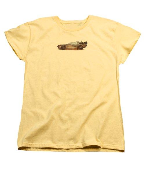 Lost In The Wild Wild West Golden Delorean Doubleexposure Art Women's T-Shirt (Standard Cut)