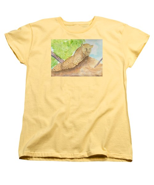 Women's T-Shirt (Standard Cut) featuring the painting Lounging Leopard by Vicki  Housel