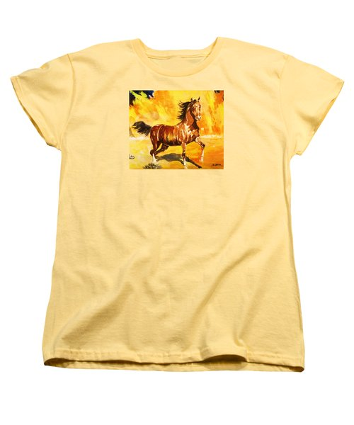 Women's T-Shirt (Standard Cut) featuring the painting Lone Mustang by Al Brown