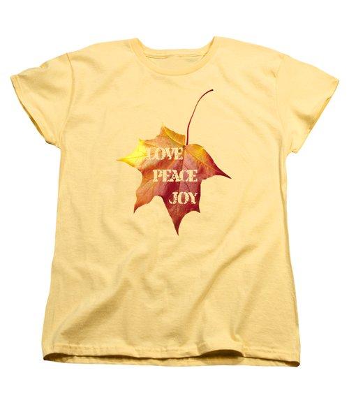 Love Peace Joy Carved On Fall Leaf Women's T-Shirt (Standard Cut) by Georgeta Blanaru