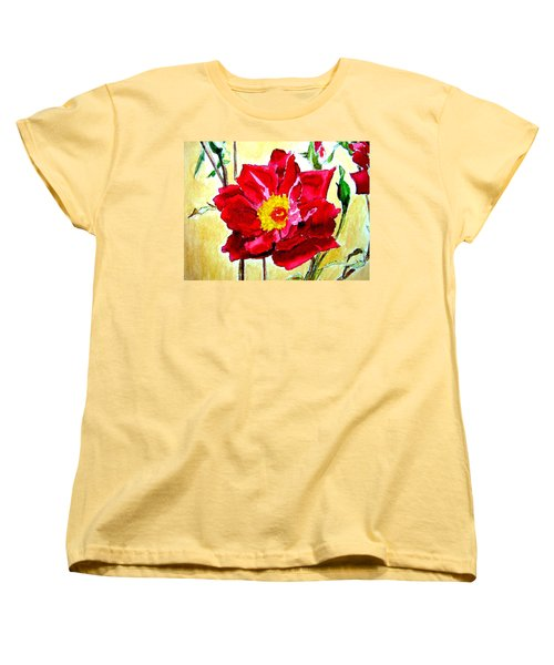Women's T-Shirt (Standard Cut) featuring the painting Love Rose by Ana Maria Edulescu