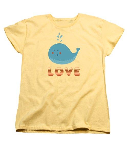 Women's T-Shirt (Standard Cut) featuring the photograph Love Whale Cute Animals by Edward Fielding