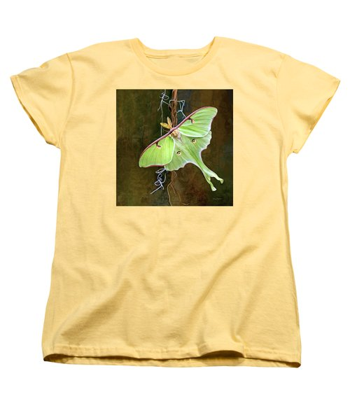 Women's T-Shirt (Standard Cut) featuring the digital art Luna Moth by Thanh Thuy Nguyen