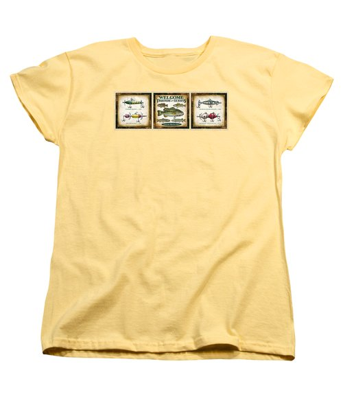 Women's T-Shirt (Standard Cut) featuring the painting Lure Three Piece Panels by JQ Licensing Jon Q Wright