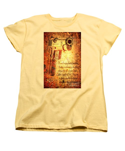 M1911 Pistol And Second Amendment On Rusted Overlay Women's T-Shirt (Standard Cut) by M L C