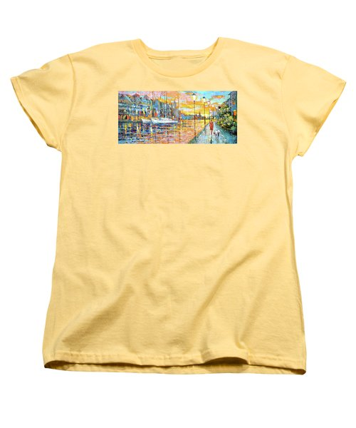 Women's T-Shirt (Standard Cut) featuring the painting Magical Sunset by Dmitry Spiros