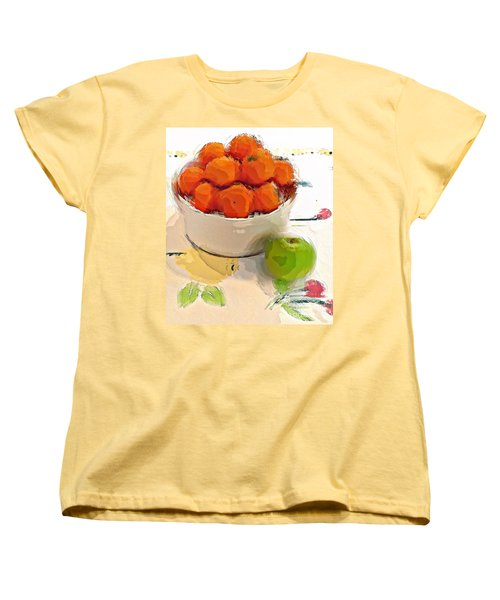 Mandarin With Apple Women's T-Shirt (Standard Cut) by Alexis Rotella