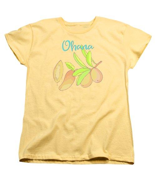 Mango Ohana Tropical Hawaiian Design Of Fruit And Family Women's T-Shirt (Standard Cut) by Tina Lavoie
