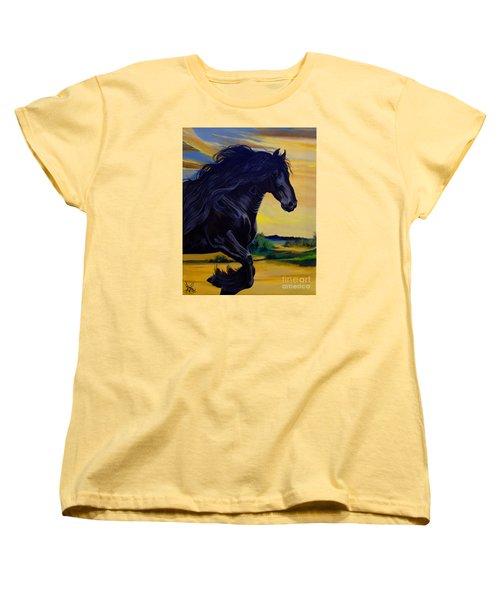 Friesian Paradise Women's T-Shirt (Standard Cut) by Cheryl Poland