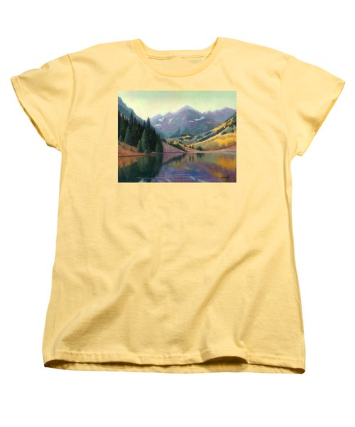 Women's T-Shirt (Standard Cut) featuring the painting Maroon Bells In October by Janet King