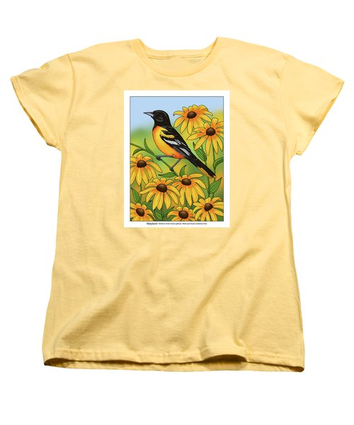 Maryland State Bird Oriole And Daisy Flower Women's T-Shirt (Standard Cut) by Crista Forest