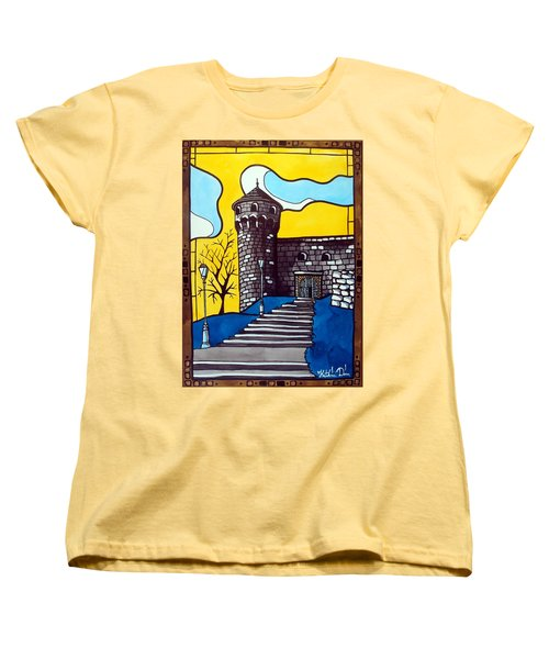 Women's T-Shirt (Standard Cut) featuring the painting Medieval Bastion -  Mace Tower Of Buda Castle Hungary By Dora Hathazi Mendes by Dora Hathazi Mendes
