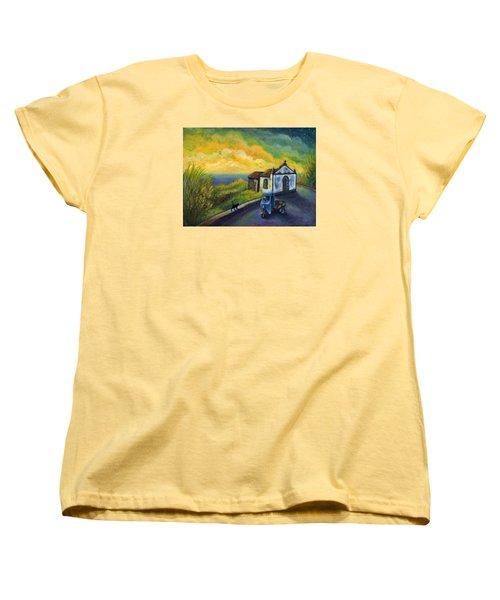 Memories Neath A Yellow Sky Women's T-Shirt (Standard Cut) by Retta Stephenson