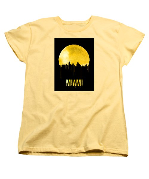 Miami Skyline Yellow Women's T-Shirt (Standard Cut) by Naxart Studio