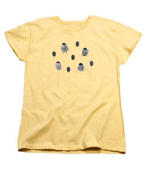 Mice In Swiss Cheese Women's T-Shirt (Standard Cut) by Rita Palmer