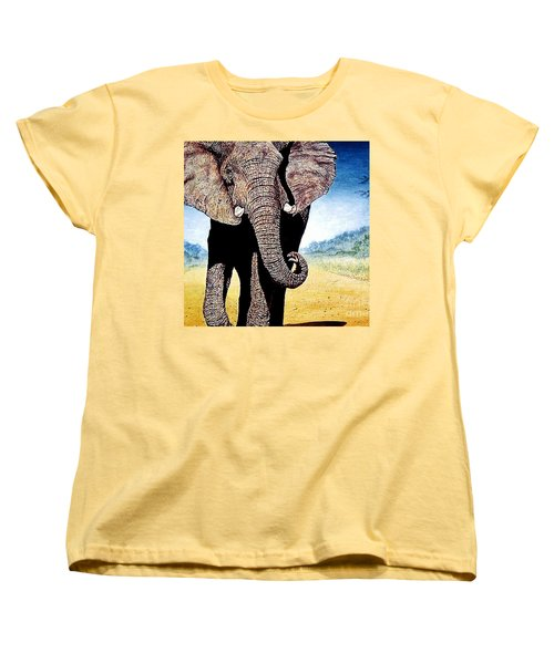 Women's T-Shirt (Standard Cut) featuring the painting Mighty Elephant by Hartmut Jager