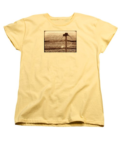 Misty Morning At The Ranch Women's T-Shirt (Standard Cut) by American West Legend By Olivier Le Queinec