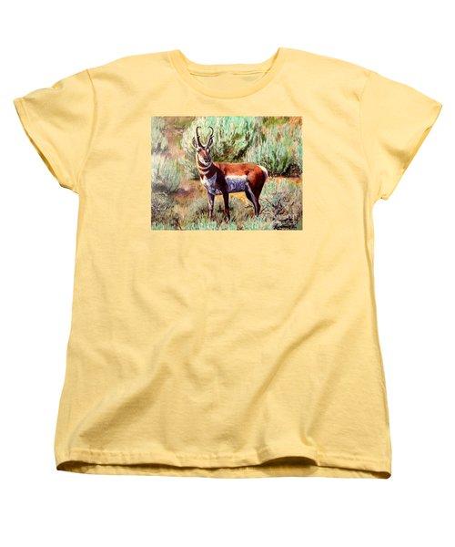 Montana Antelope Buck  Women's T-Shirt (Standard Cut) by Ruanna Sion Shadd a'Dann'l Yoder