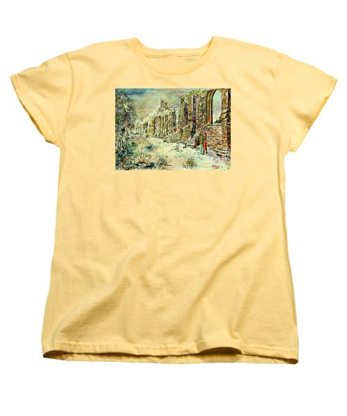 Women's T-Shirt (Standard Cut) featuring the painting Moonlit Footsteps On Holy Ground by Alfred Motzer