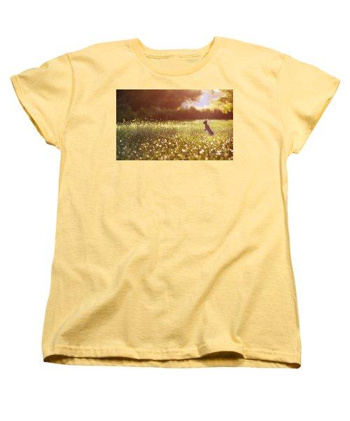 Morning Rabbit Women's T-Shirt (Standard Cut) by Rima Biswas