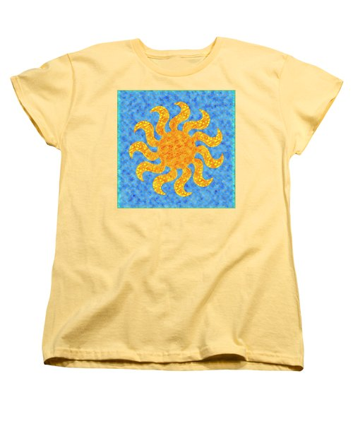 Mosaic Stained-glass Of The Sun Women's T-Shirt (Standard Cut) by Anton Kalinichev