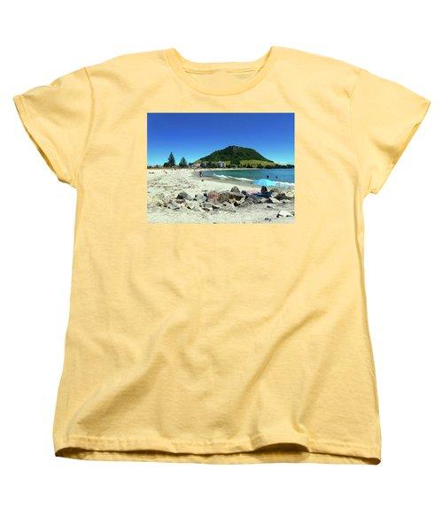Women's T-Shirt (Standard Cut) featuring the photograph Mount Maunganui Beach 1 - Tauranga New Zealand by Selena Boron