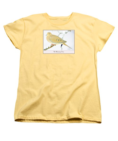 Women's T-Shirt (Standard Cut) featuring the photograph Mourning Dove In Snow Animal Portrait by A Gurmankin