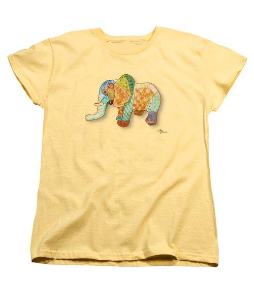 Multicolor Elephant Women's T-Shirt (Standard Cut) by Angeles M Pomata
