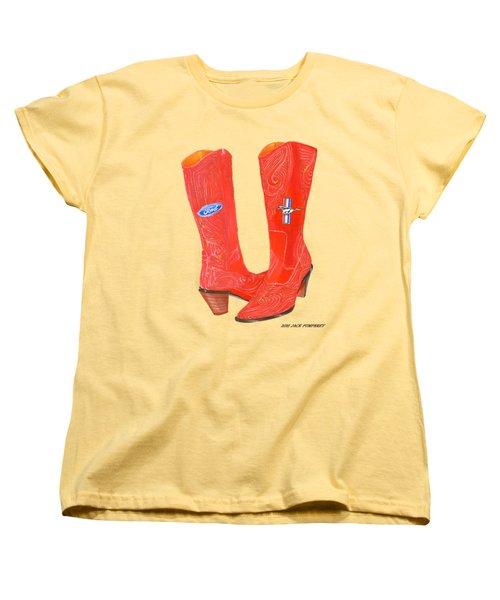 Mustang Sally Kick Ass Boots Women's T-Shirt (Standard Cut) by Jack Pumphrey