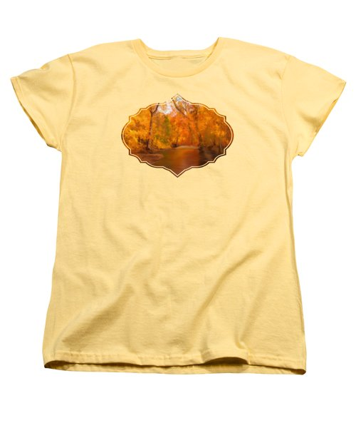 New England Autumn In The Woods Women's T-Shirt (Standard Cut) by Becky Herrera